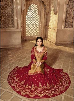 Delightful Beige Color Designer Wedding Wear Salwar Kameez Suit