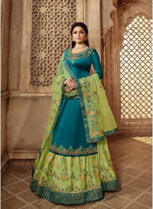 Remarkable Turquoise Blue Color Designer Wedding Wear Salwar Kameez Suit