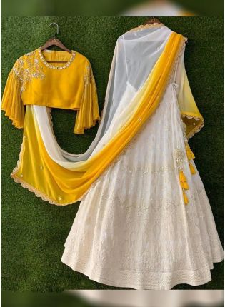 Haldi Yellow And White Color Georgette Base Wedding Wear Lehenga Choli