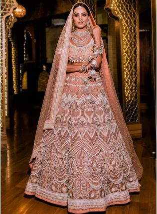 Peach Sequin Resham A-Line Bridal Bollywood Lehenga Choli