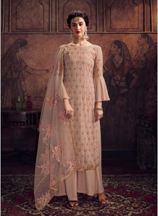 Wonderful Beige Georgette Base Stone And Resham Work Salwar Suit