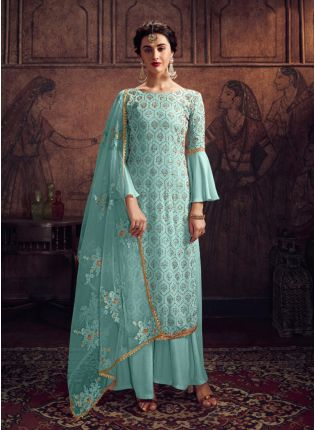 Charming Light Blue Georgette Stone And Resham Work Salwar Suit