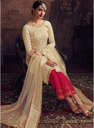 Beige Jacquard Silk with Silk Waving Work Palazzo Suit
