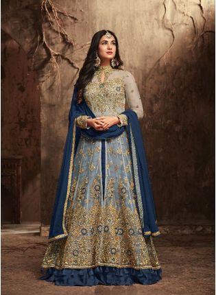Marvellous Blue Slit Cut Anarkali Suit With Heavy Embroidery