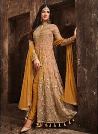 Classic Mustered Yellow Slit Cut Anarkali Suit With Heavy Embroidery