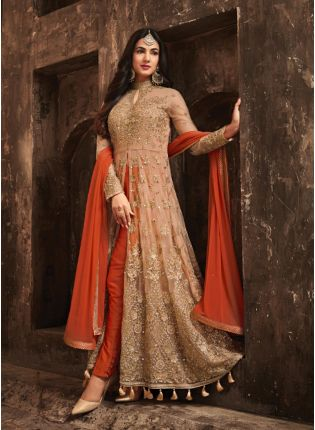 Marvellous Orange Color Slit Cut Anarkali Suit With Heavy Embroidery
