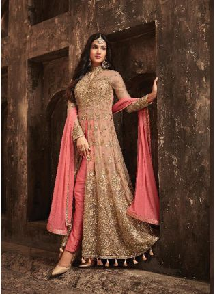Amazing Peach Slit Cut Anarkali Suit With Heavy Embroidery