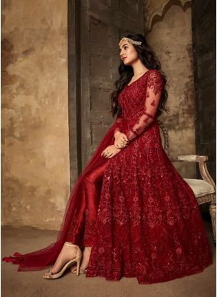 Maroon Color Designer Party Wear Slit Cut Anarkali Suit