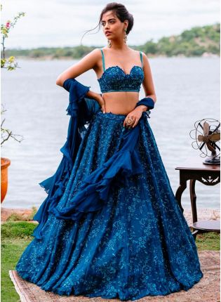 Splendid Blue Silk Base Resham Work Flared Lehenga Choli