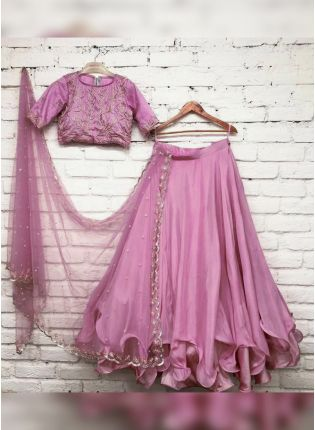 Purple Zari And Sequin Silk Flared Lehenga Choli