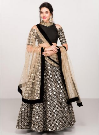 Party Wear Black Color Mirror Work Lehenga Choli