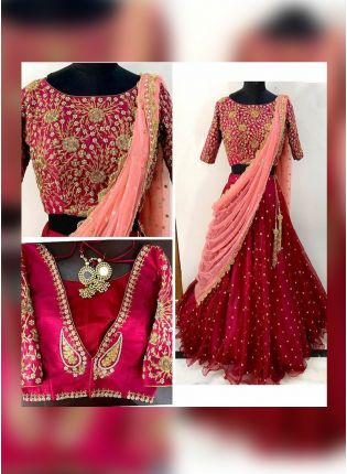 Dark Maroon Color Designer Wedding Wear Pearl Work Lehenga Coli