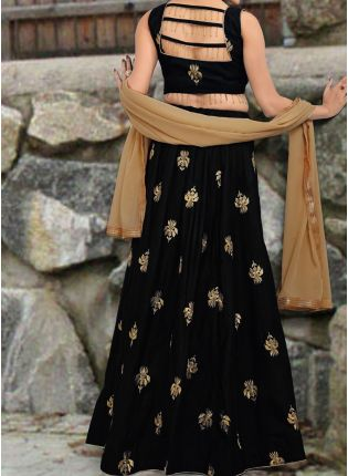 Amazing Black Color Designer Wedding Wear Lehenga Choli