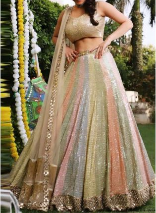 Multi Color Satin Banglori Base Sequins Wok Designer Lehenga Choli