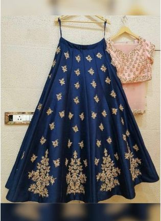 Sensational Prussian Blue Color Embroidered Flared Lehenga Choli