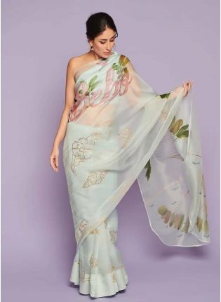 Sea Green Digital Print Organza Bollywood Saree for parties