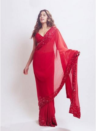 Gorgeous Strawberry Red Georgette Resham And Stone Work Saree