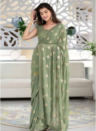 Modish Teal Green Georgette Base Sequin Work Designer Saree