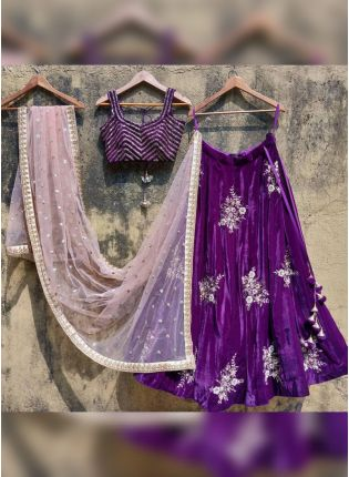 Sparkling Purple Velvet Base Zari And Moti Work Lehenga Choli