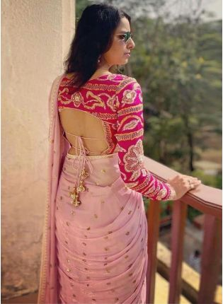 Unbeatable Peach Pink Georgette Base Sequin Work Saree