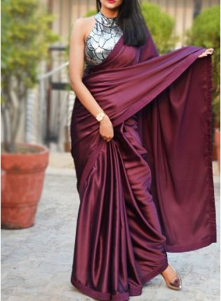 Trendy Look Wine Color Plain saree With Heavy Sequins Base Designer Look Blouse