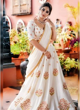 Remarkable Snow White Georgette Base Embroidered Lehenga Choli