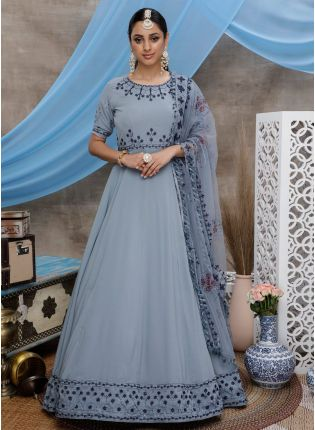 Grey Resham Stone Work Silk Soft Net Anarkali Salwar Suit