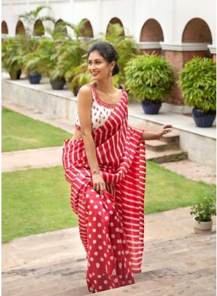 Alluring Red Color Digital Print Saree