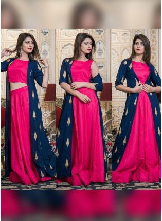 New Trending Pink Color Party Wear Jacket Style Lehenga Choli