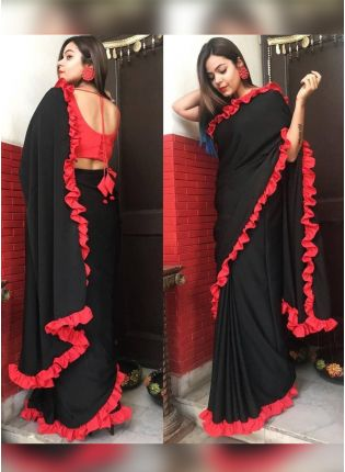 Party Wear Black Color Georgette Base Ruffle Lace Saree