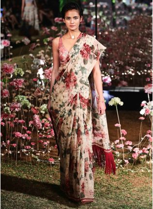 Pink Color Floral Printed Silk Base Designer Party Wear Saree