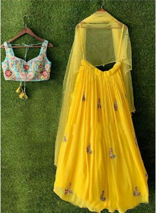 Lemon Yellow Georgette Base Embroidery Work Party Wear Lehenga Choli