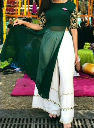 Dark Green Color Georgette Base Party Wear Palazzo Suit
