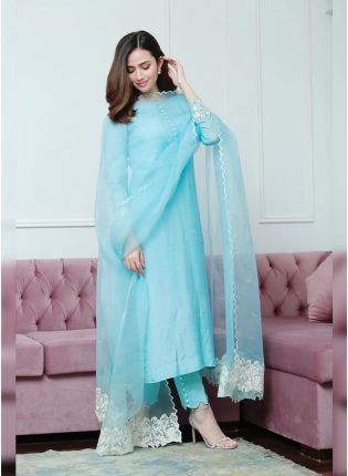 Mind-Blowing Sky Blue Festive Wear Cotton Silk Pant Style Suit
