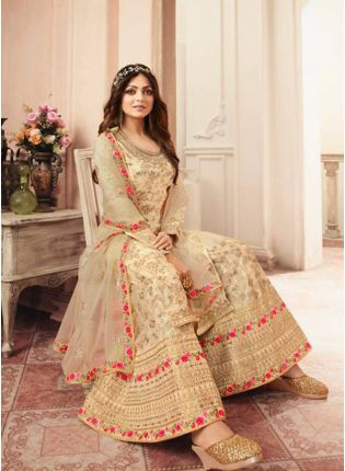 Admirable Beige Jacquard Silk Base Embroidered Salwar Suit