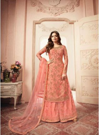 Fantastic Peach Jacquard Silk Base Embroidered Salwar Suit