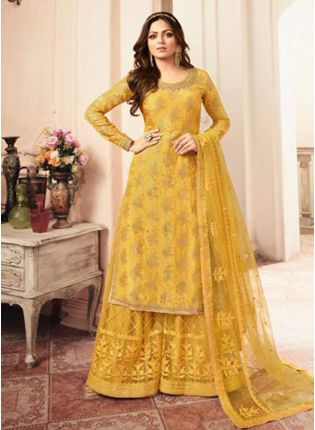 Adorable Yellow Jacquard Silk Base Embroidered Salwar Suit