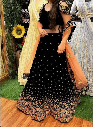 Black Velvet Base Designer Embroidery And Thread Work Lehenga Choli