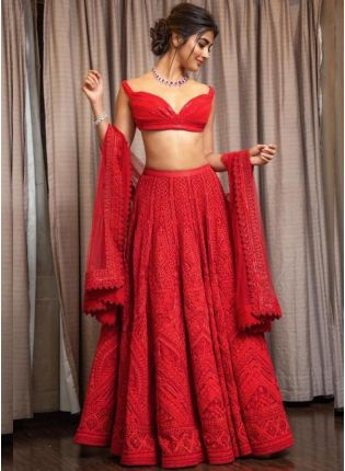 Rose Red Color Party Wear Designer Georgette Base Lehenga Choli
