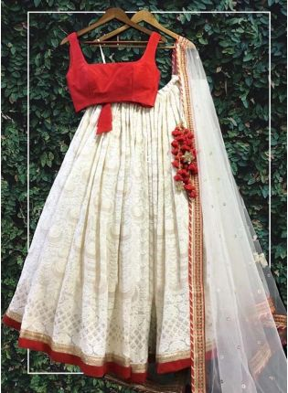 Delightful White Georgette Base Lakhnavi Work Designer Lehenga Choli