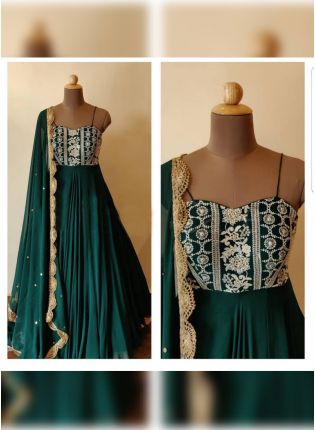Dashing Dark Green Color Georgette Base Embroidered Designer Gown