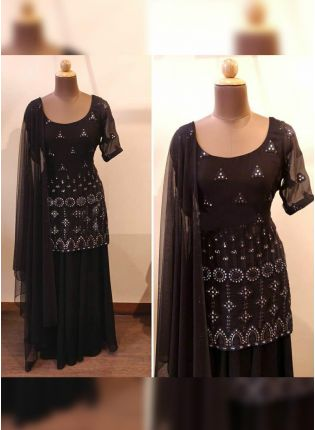 Tremendous Black Georgette Mirror And Zari Work Palazzo Suit