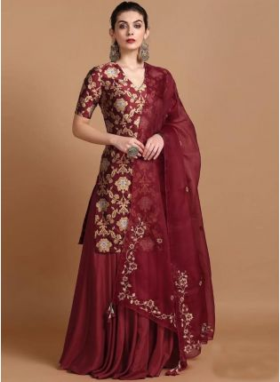 Wonderful Maroon Colored Taffeta Silk Base Zari Work Lehenga Suit