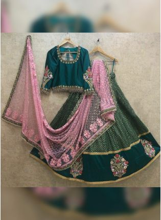 Majestic Dark Green Taffeta Silk Base Ceremonial Lehenga Choli