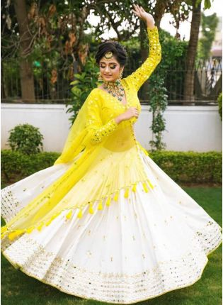 Divine Look White Color Embroidery With Real Mirror Work  Lehenga Choli