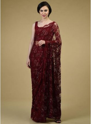 Stunning Maroon Soft Net Saree With Resham Embroidery Details