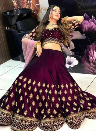 Impressive Dark Purple Velvet Base Zari Work Lehenga Choli