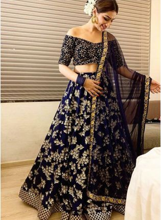 Outstanding Navy Blue Taffeta Silk Base Zari Work Lehenga Choli