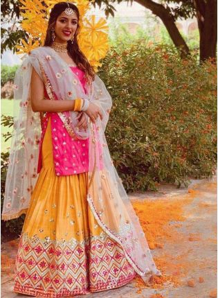 Striking Pink Tafetta Silk Sharara Suit
