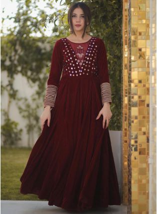 Royal Maroon Velvet Anarkali Suit